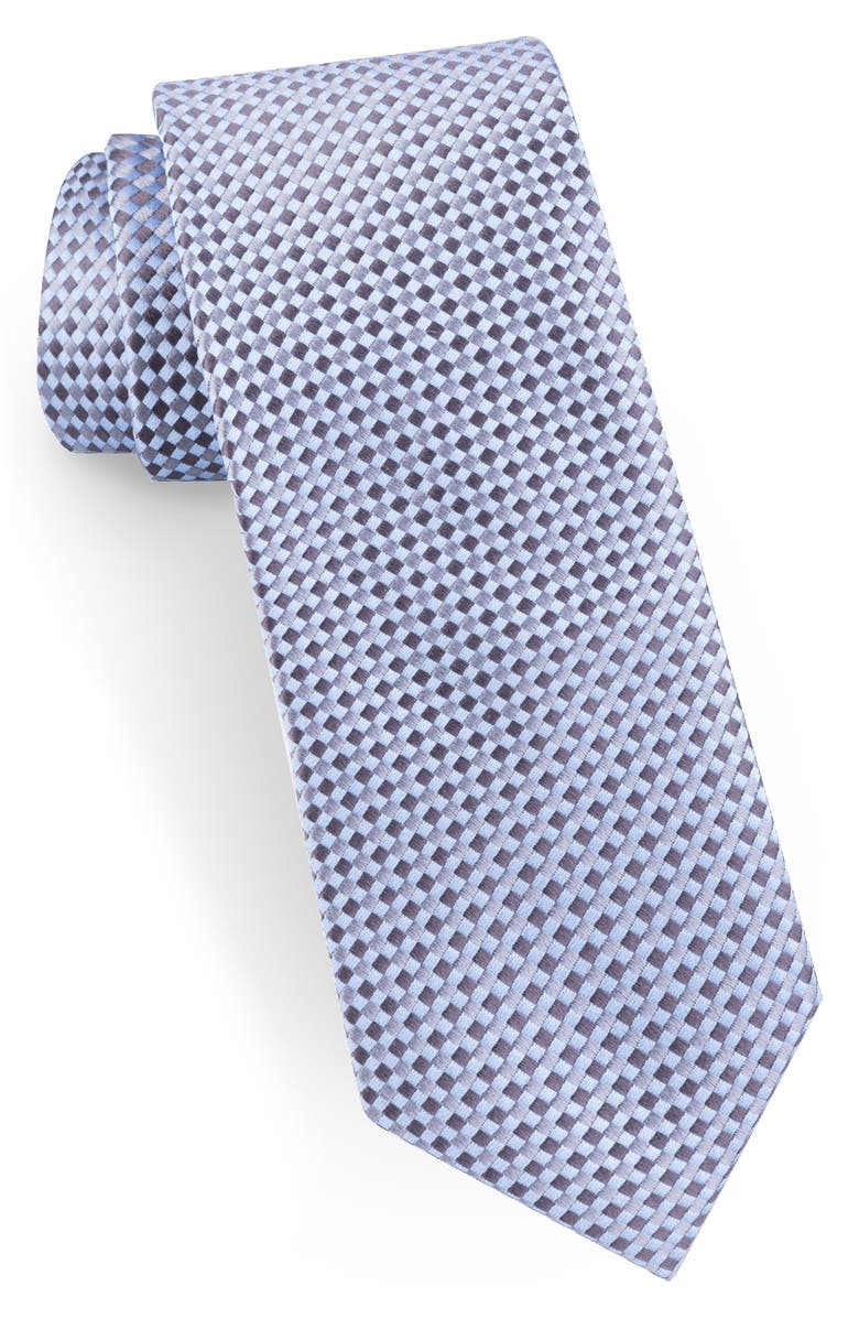TED BAKER LONDON Check Narrow Silk Tie, Main, color, GREY