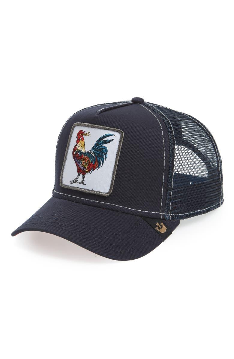 GOORIN BROS. Cockerel Trucker Hat, Main, color, NAVY