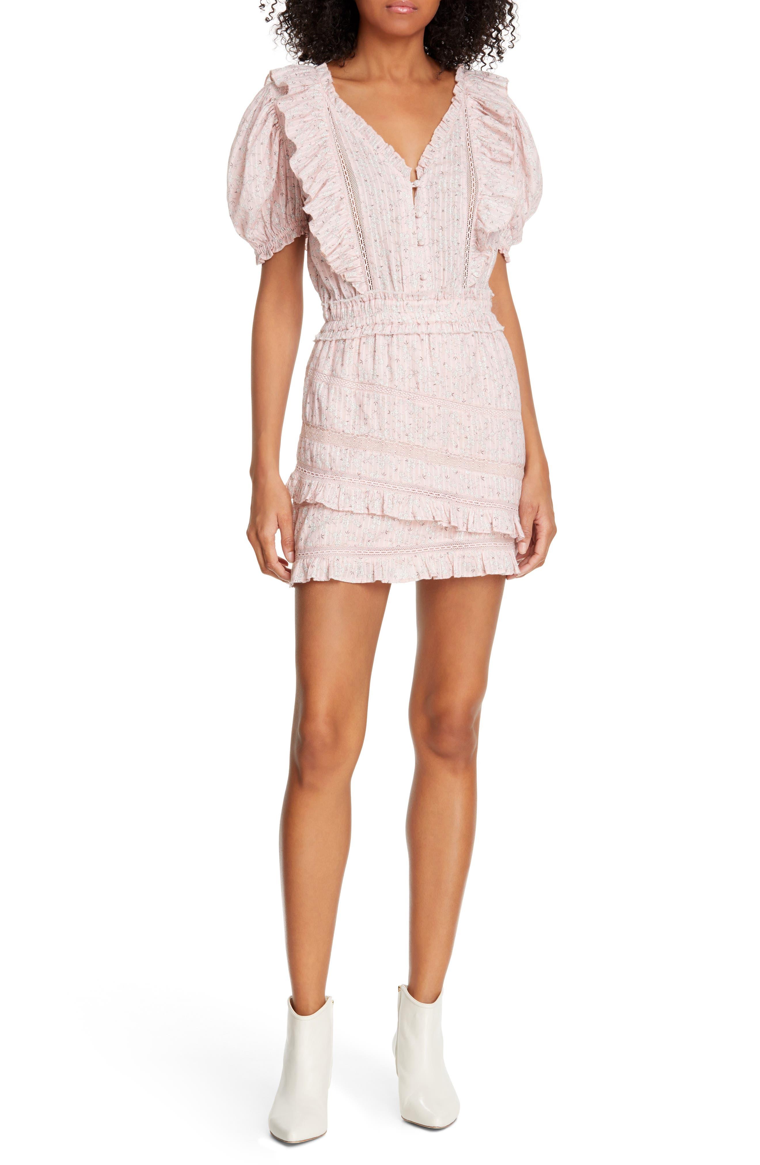 Loveshackfancy Sutton Asymmetrical Tiered Ruffle Cotton Dress, Pink
