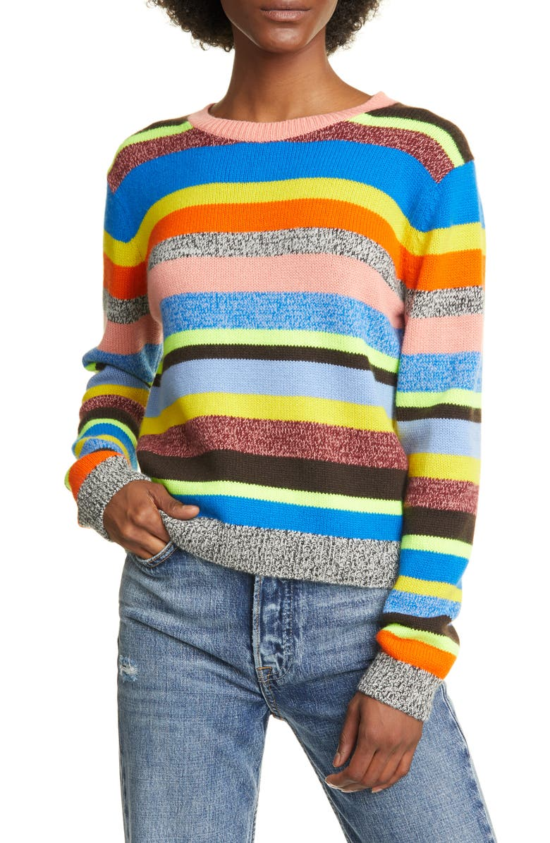 CHINTI & PARKER Anni Stripe Wool & Cashmere Sweater, Main, color, RED MULTI