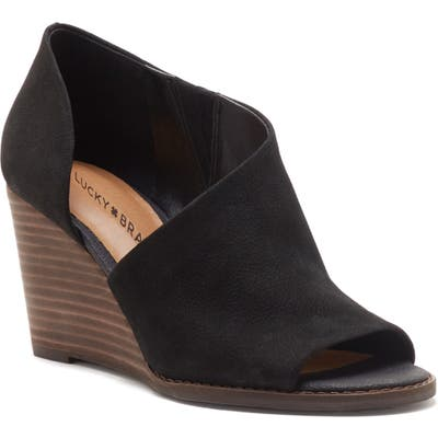 Lucky Brand Jaxy Open Toe Wedge- Black