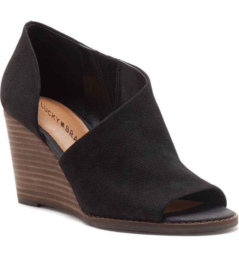 LUCKY BRAND Jaxy Open Toe Wedge, Main, color, BLACK NUBUCK LEATHER