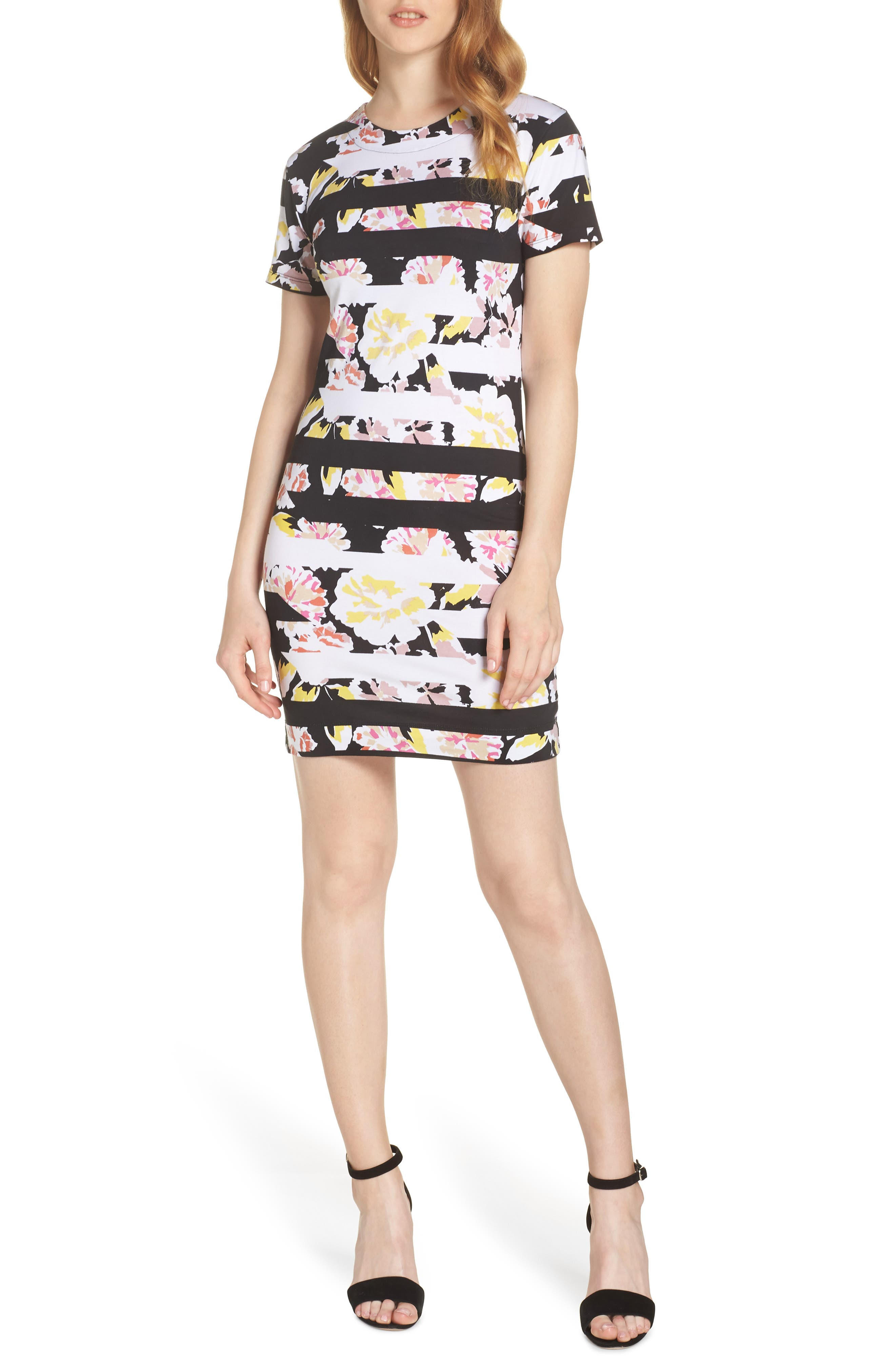 French Connection Enoshima Print Jersey Dress, Black