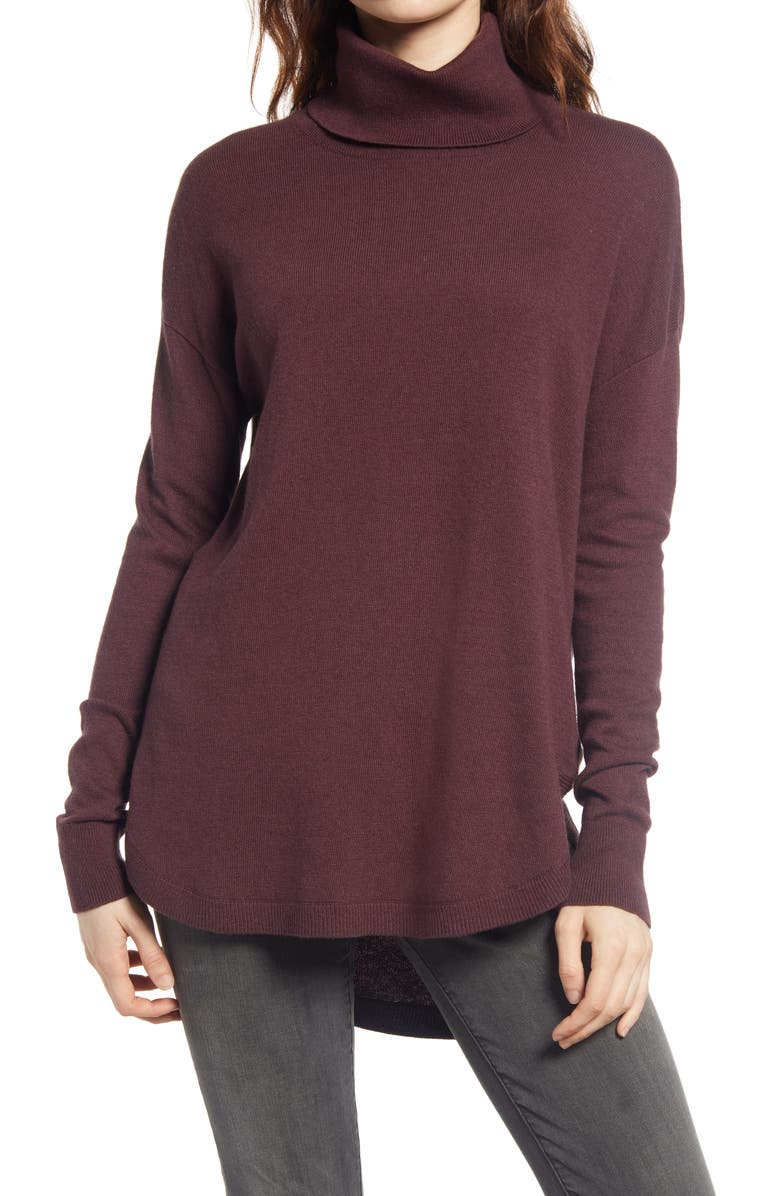 CHELSEA28 Turtleneck Sweater, Main, color, BURGUNDY FUDGE