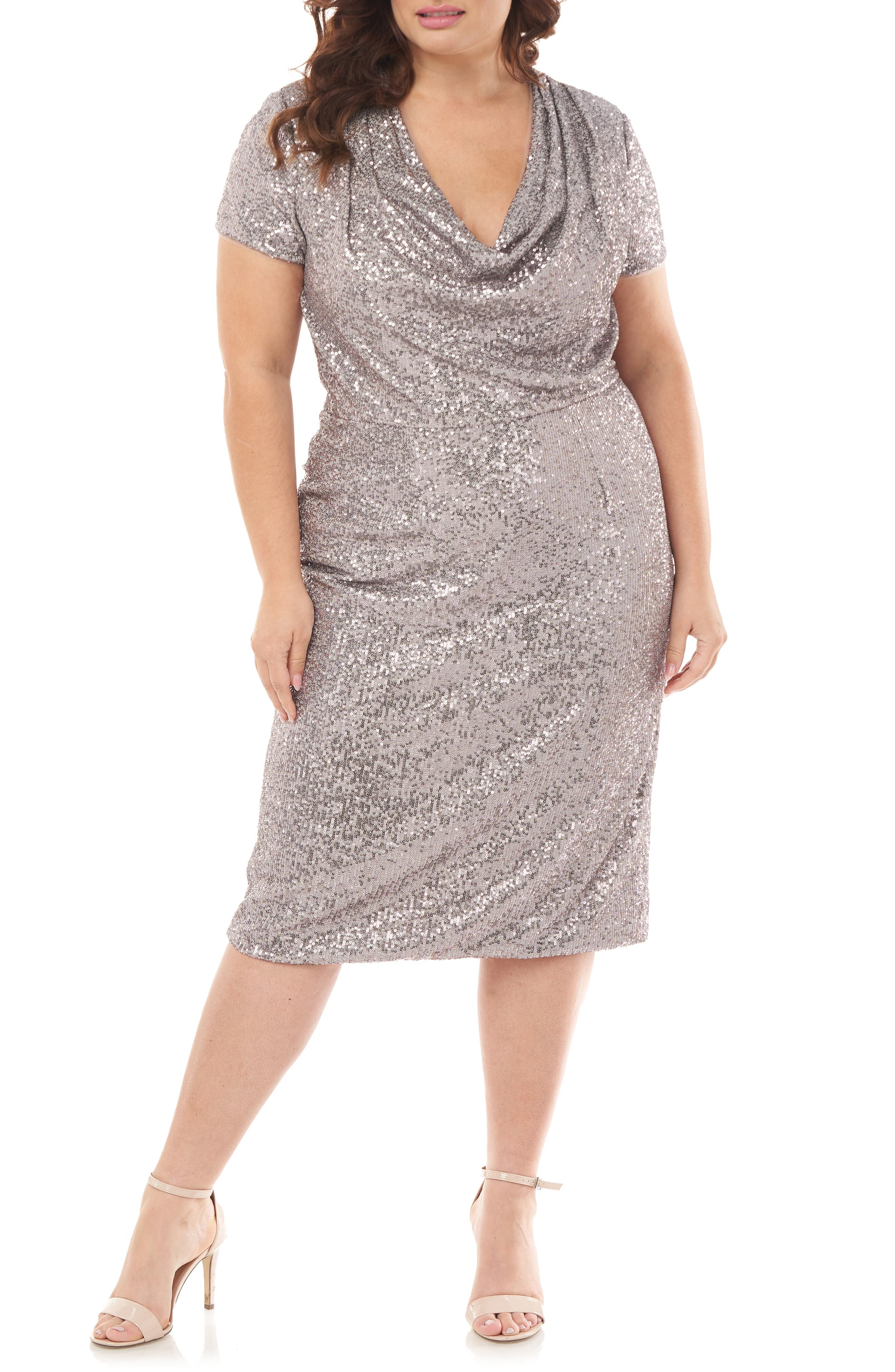 70s Dresses – Disco Dress, Hippie Dress, Wrap Dress Plus Size Womens Js Collections Cowl Neck Sequin Cocktail Dress $288.00 AT vintagedancer.com