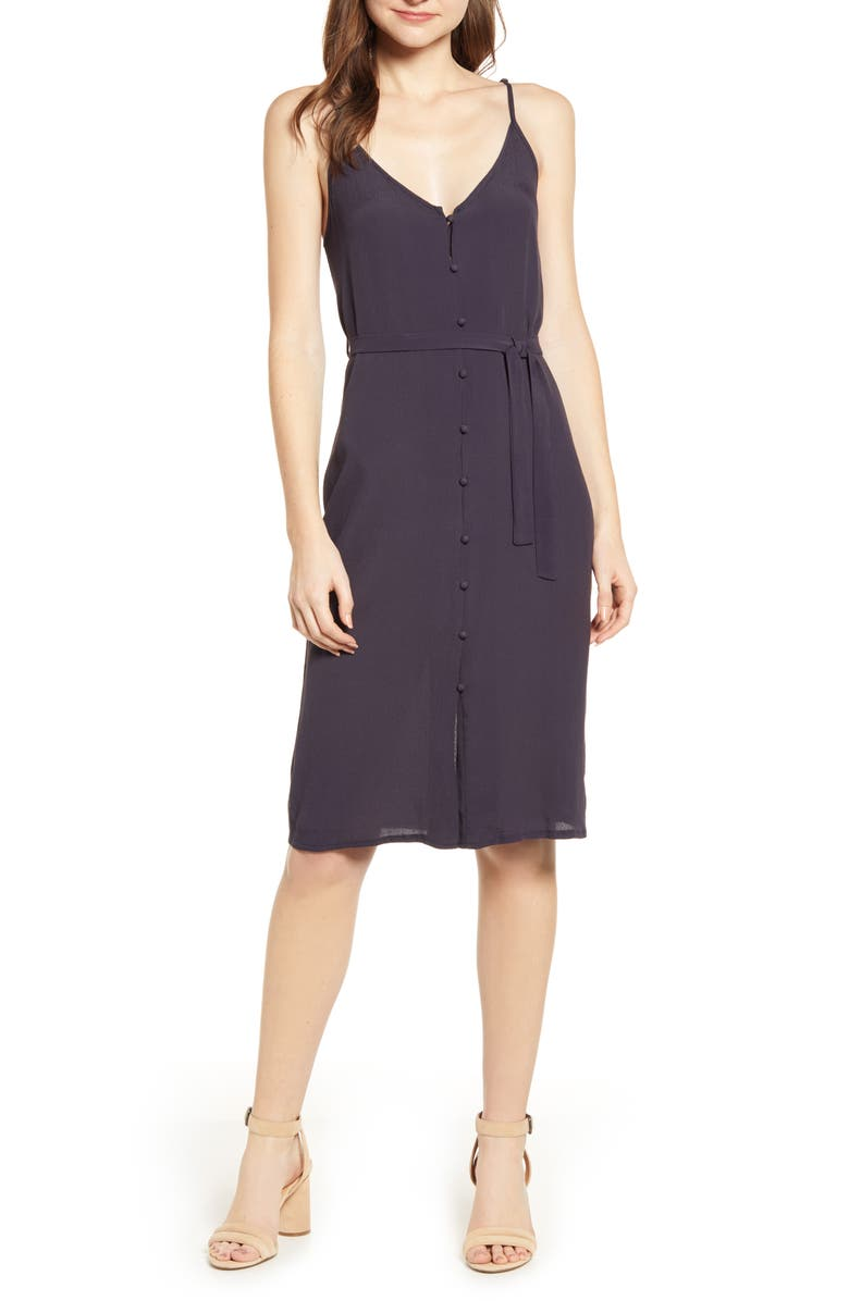BISHOP + YOUNG Button Up Belted Sundress, Main, color, MIDNIGHT BLUE