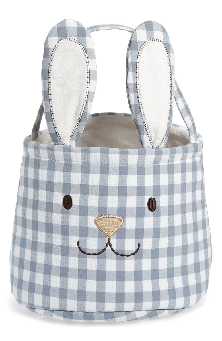 LEVTEX Gingham Bunny Easter Basket, Main, color, GREY