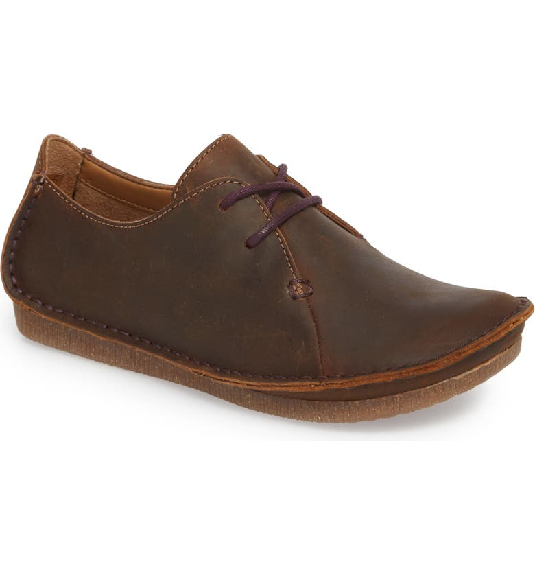 CLARKS<SUP>®</SUP> Janey Mae Derby Flat, Main, color, BEESWAX LEATHER