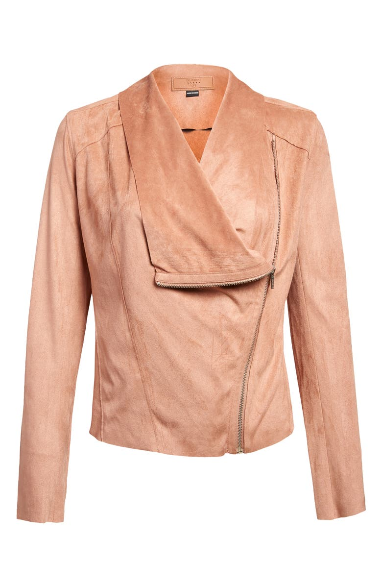 BLANKNYC Faux Suede Drape Front Jacket, Main, color, HONEYCOMB