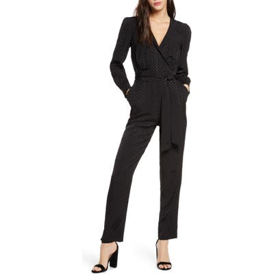 Ali & Jay Cocktail Party Dot Jacquard Jumpsuit, Black