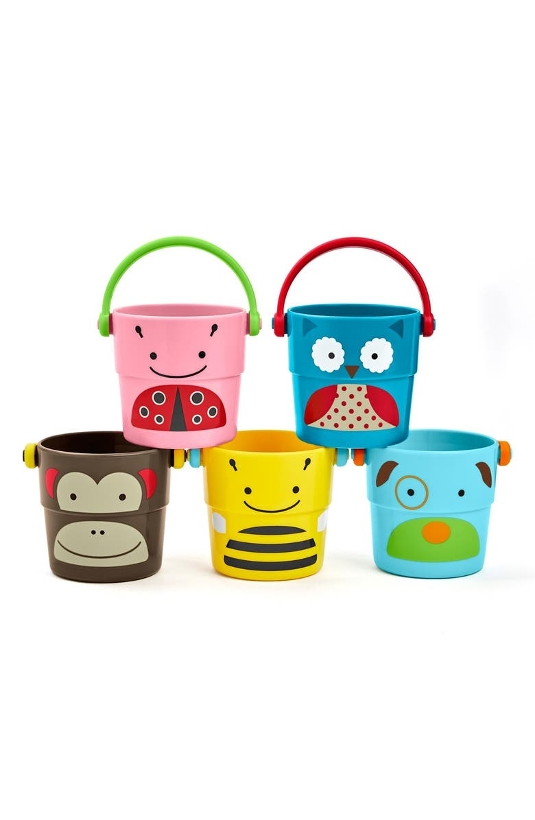 SKIP HOP 'Zoo' Stack & Pour Buckets, Main, color, MULTI