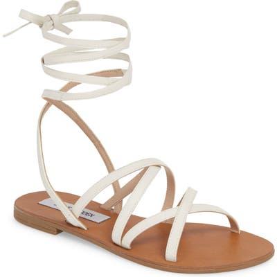 Steve Madden Carmen Strappy Ankle Wrap Sandal- White