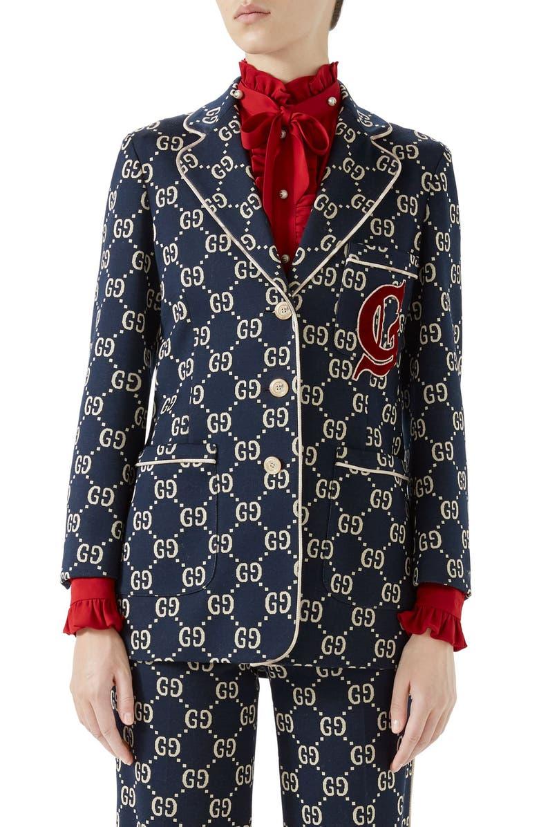 GUCCI GG Embroidered Jersey Blazer, Main, color, CASPIAN/ MULTICOLOR