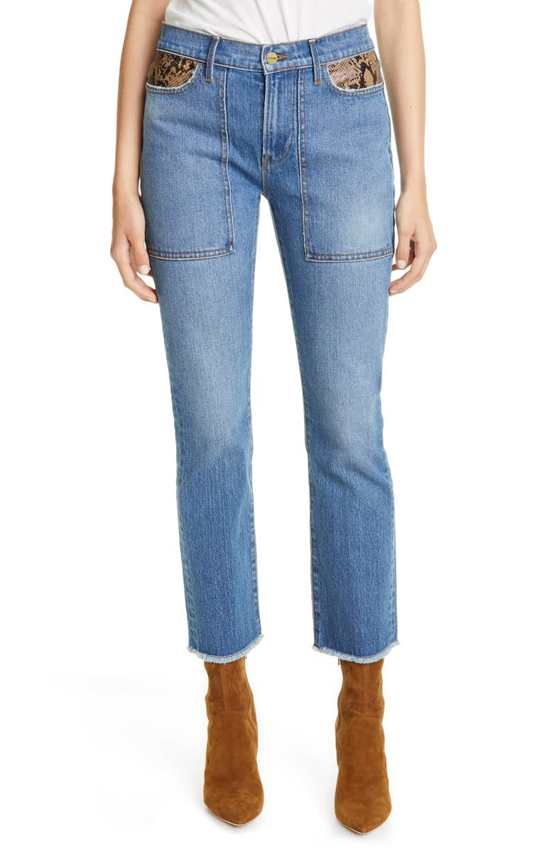 FRAME Le High Straight Python Pocket Jeans, Main, color, RATTLER