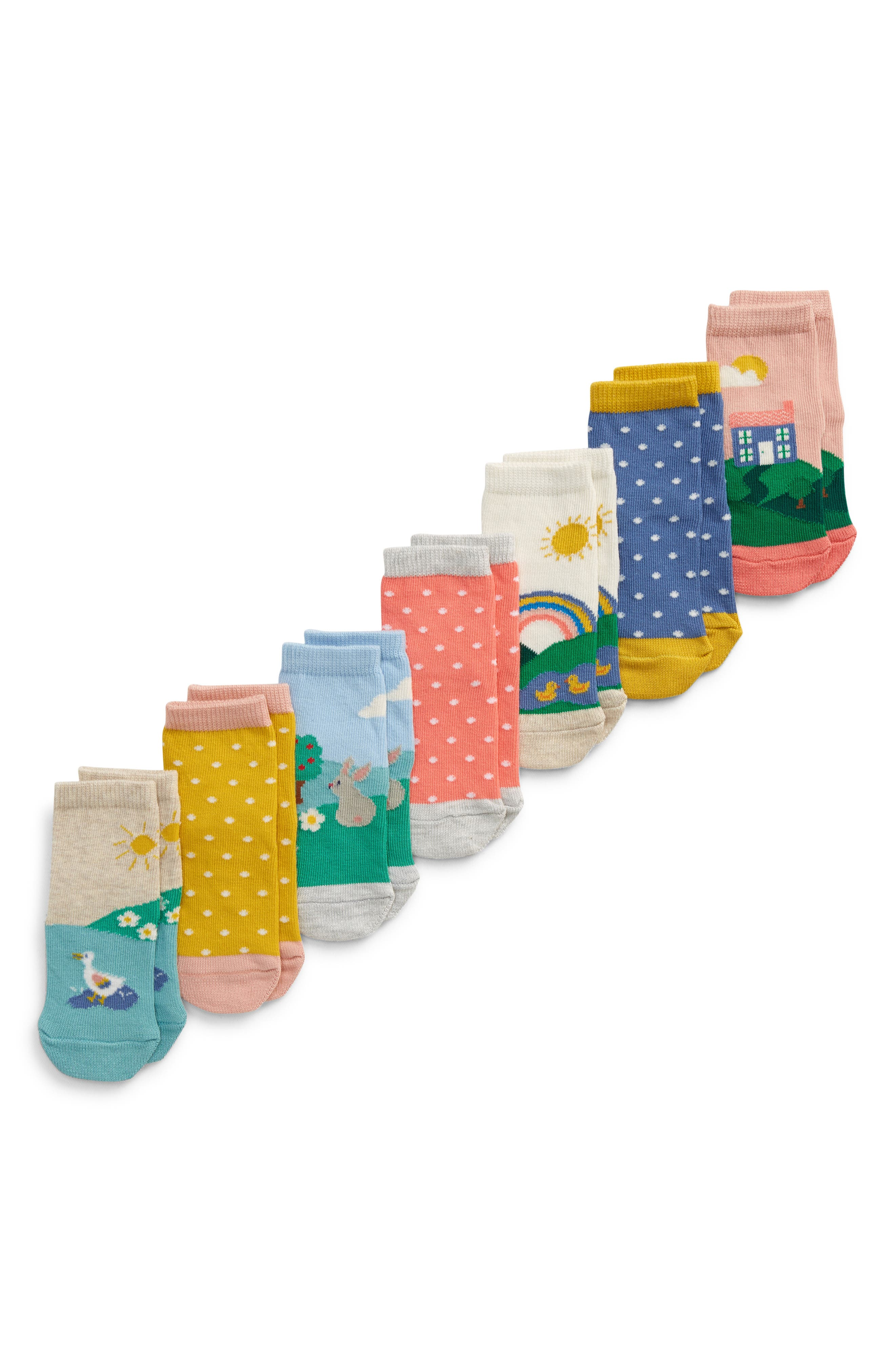 For your little one\\\'s kicky feet, pick this pack of socks featuring assorted animal friends and bright colors with tiny dots. Style Name: Mini Boden 7-Pack Socks (Baby). Style Number: 6114149. Available in stores.