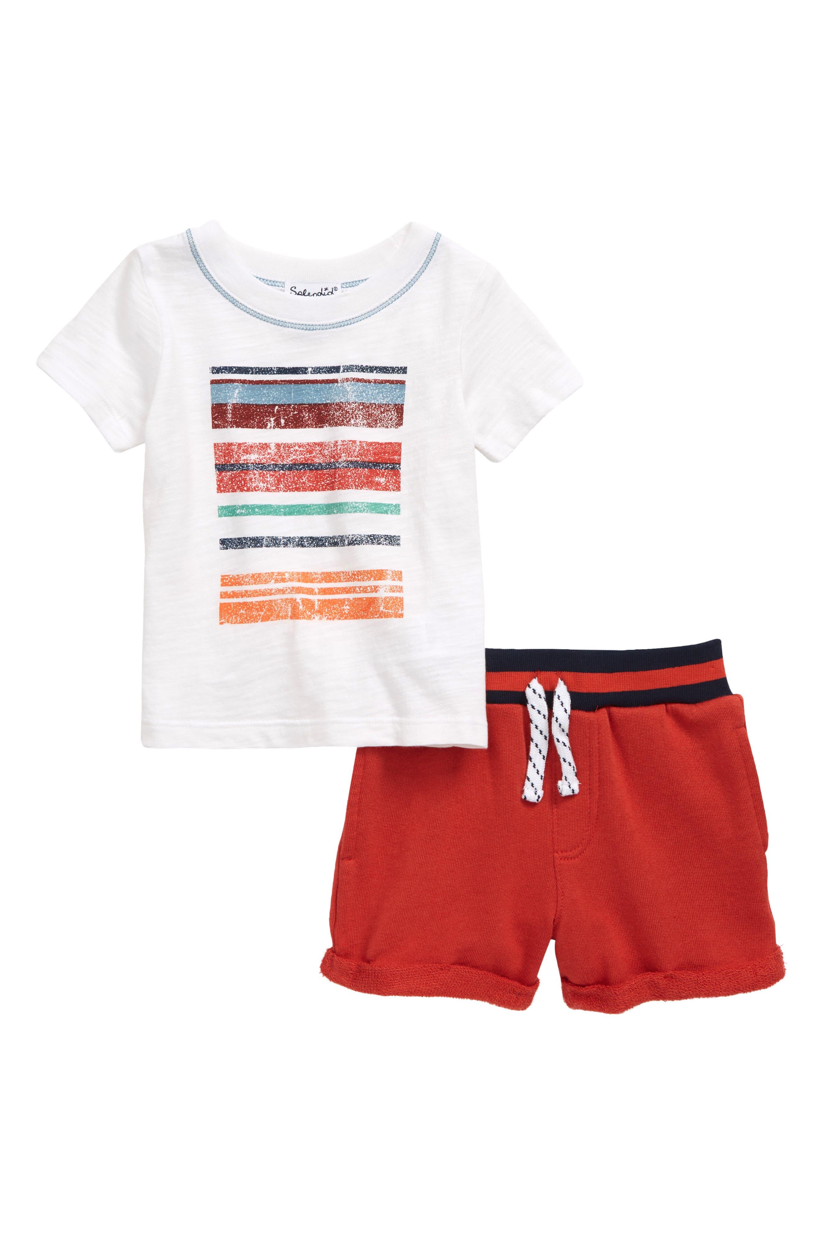 Image of Splendid Stripe Graphic Tee & Shorts Set