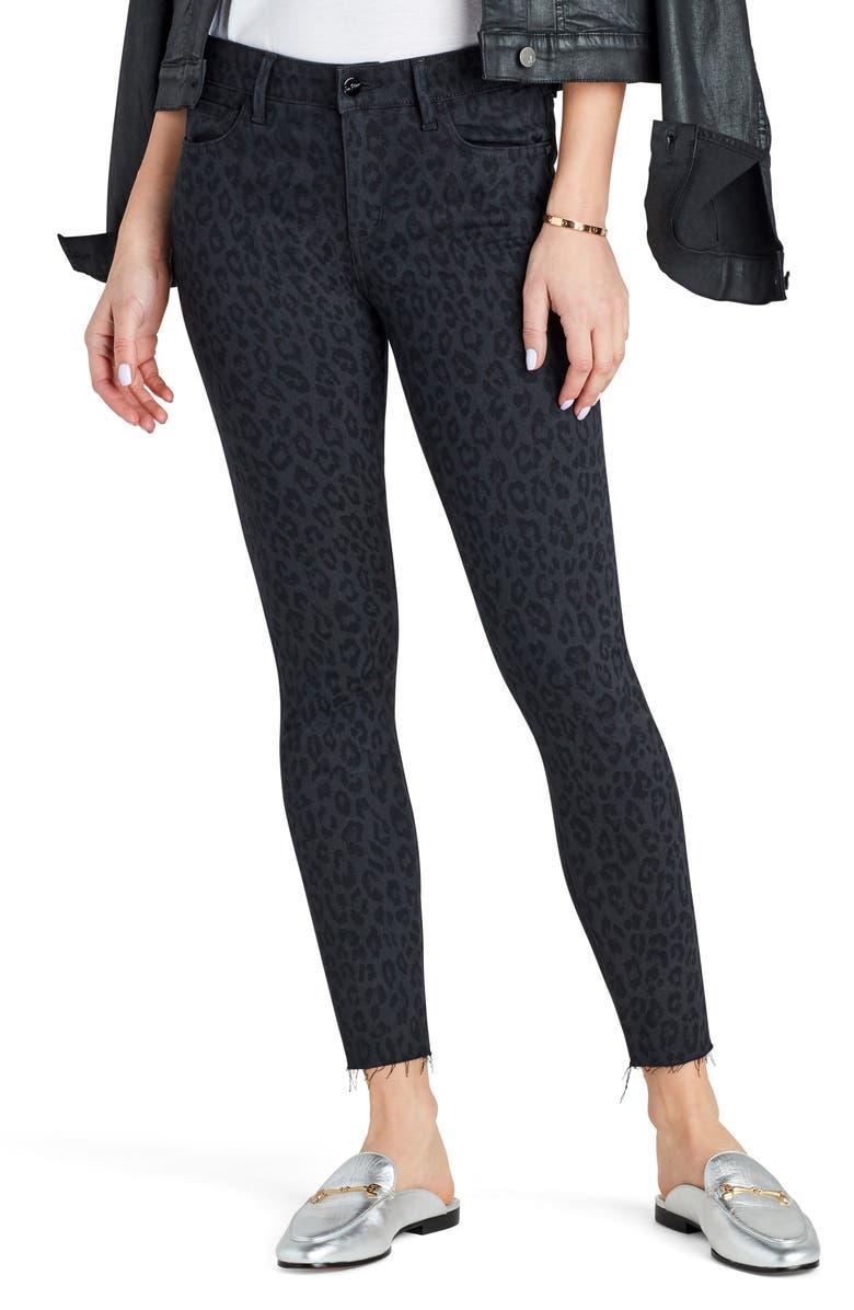 SAM EDELMAN The Kitten Fray Ankle Skinny Jeans, Main, color, JET LEOPARD