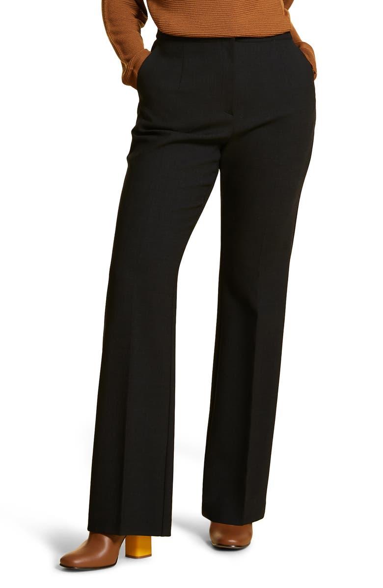 MARINA RINALDI Regolare Wide Leg Stretch Wool Crepe Pants, Main, color, DARK GREY
