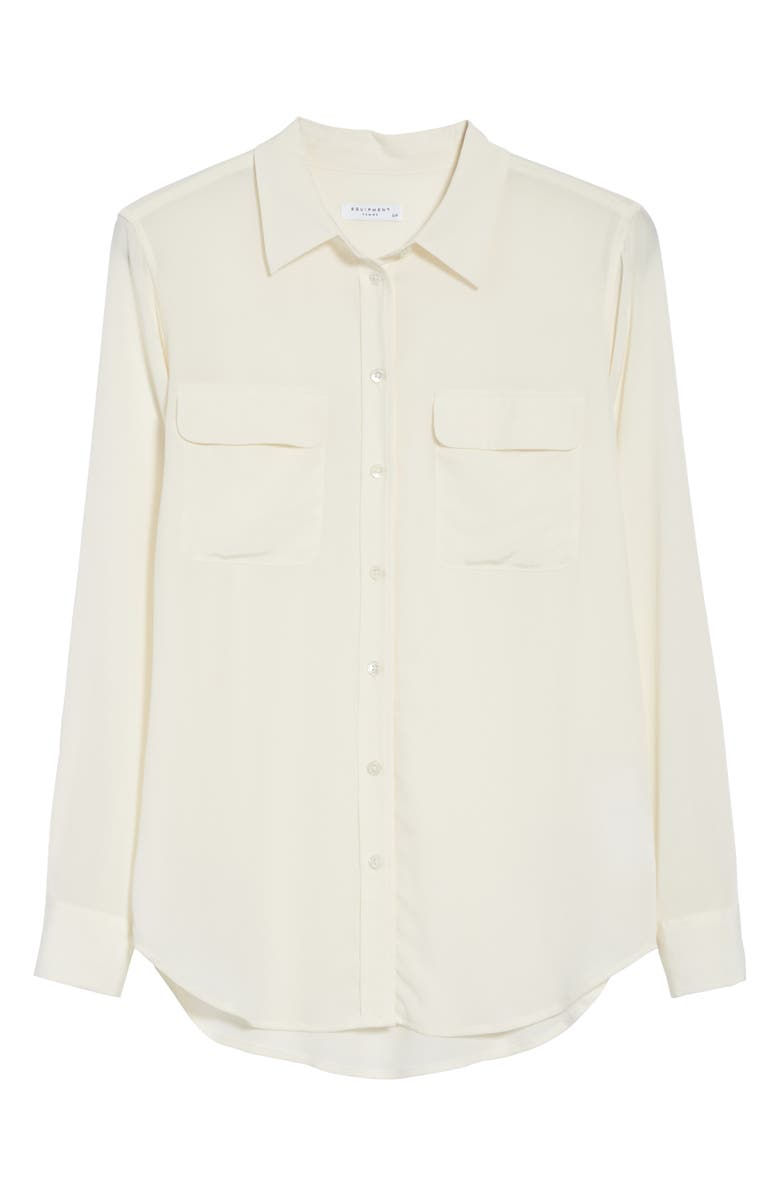 'Slim Signature' Silk Shirt, Alternate, color, BRIGHT WHITE
