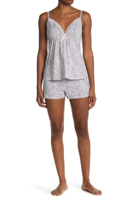 Image of Tahari Strappy Lace Trim Tank & Shorts Pajama Set