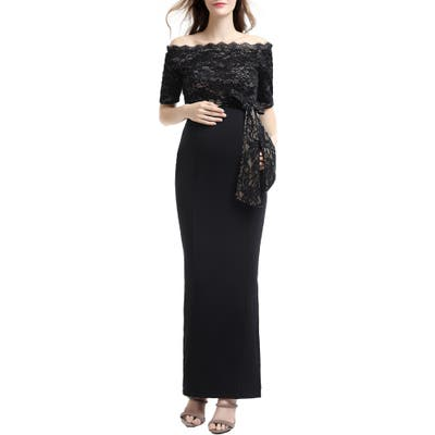 Kimi And Kai Everly Off The Shoulder Maternity Gown, Black