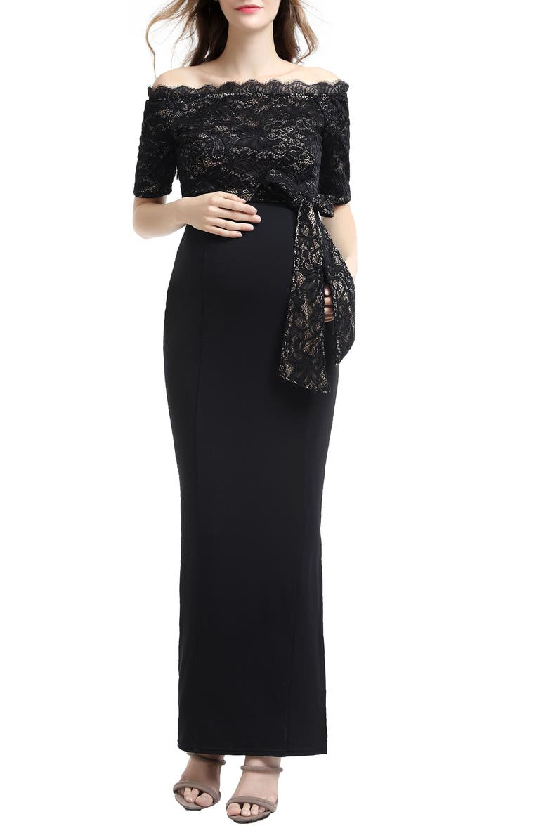 KIMI AND KAI Everly Off the Shoulder Maternity Gown, Main, color, BLACK