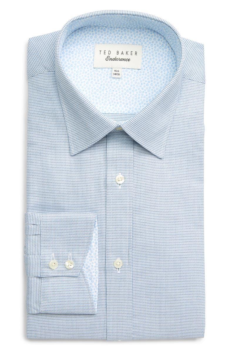 TED BAKER LONDON Endurance Guppi Extra Slim Fit Check Dress Shirt, Main, color, NAVY