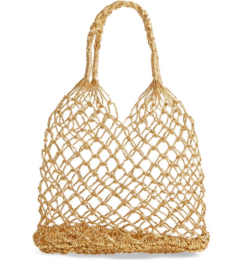BP. Metallic Foil Net Tote Bag, Main, color, 710