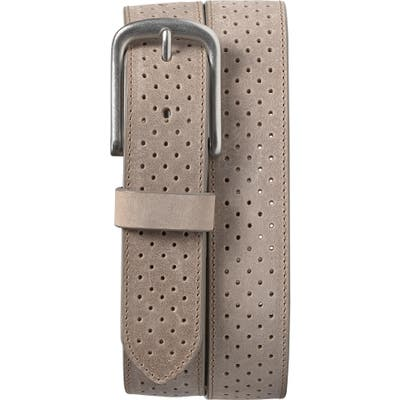 Trask Denton Perforated Leather Belt, Grey