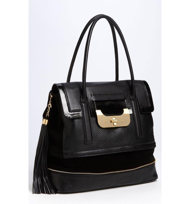 DIANE VON FURSTENBERG 'Harper Laurel' Leather Shoulder Bag, Main, color, 001
