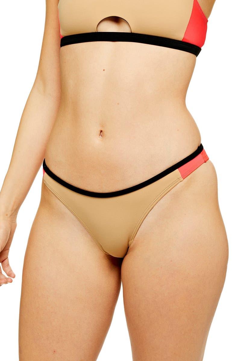 TOPSHOP Colorblock Tanga Bikini Bottoms, Main, color, 250