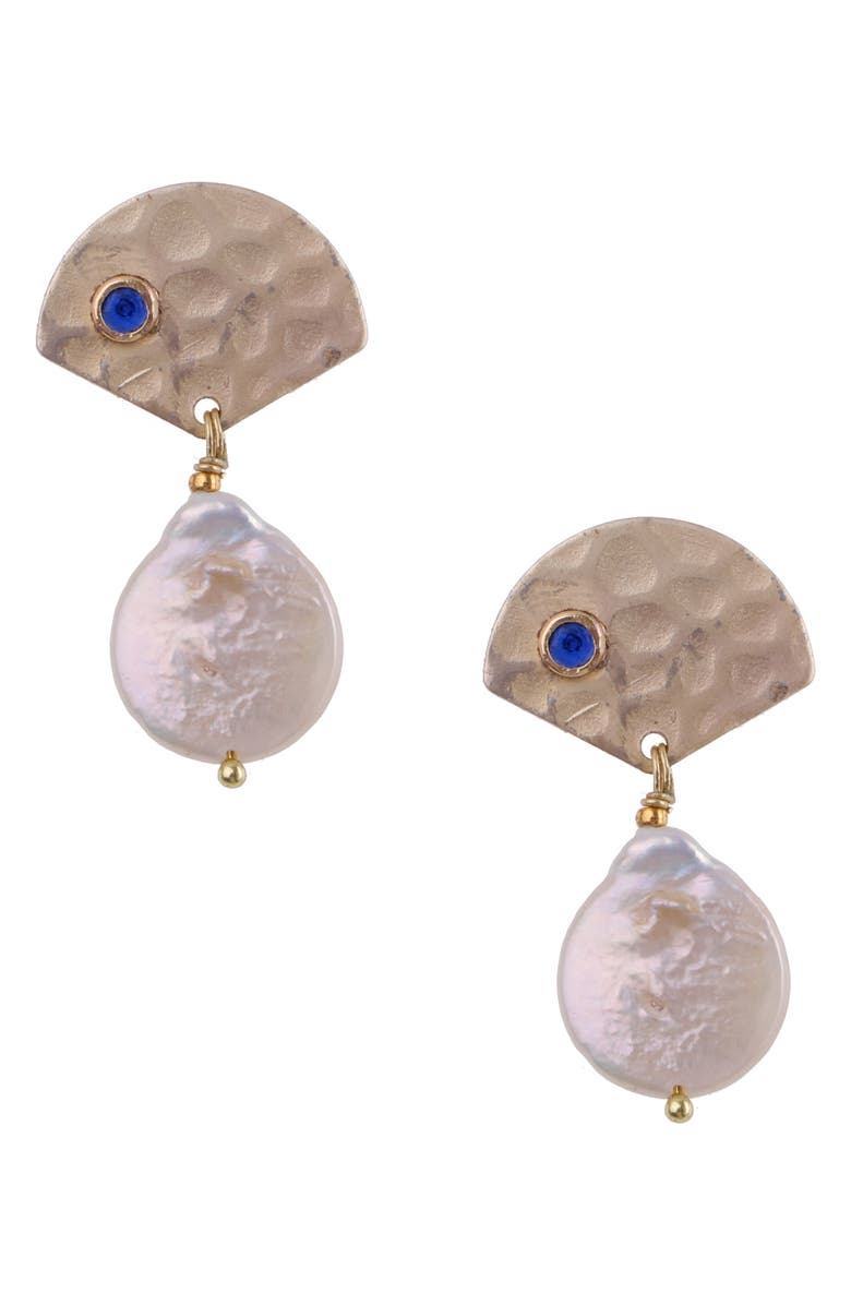 NAKAMOL CHICAGO Hammered Pearl Drop Earrings, Main, color, GOLD/ PEARL