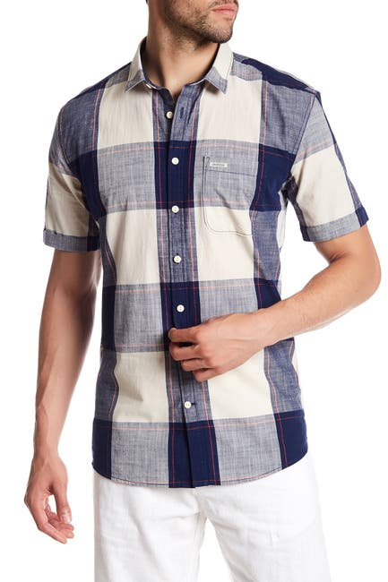 Image of Lindbergh Checked Short Sleeve Regular Fit Shirt