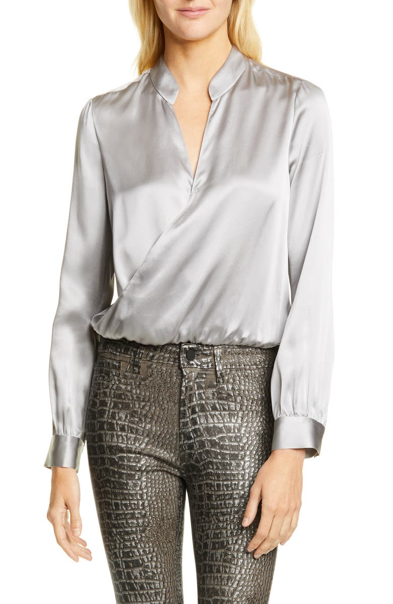 L'AGENCE Marcella Silk Charmeuse Bodysuit, Main, color, PEARL GREY