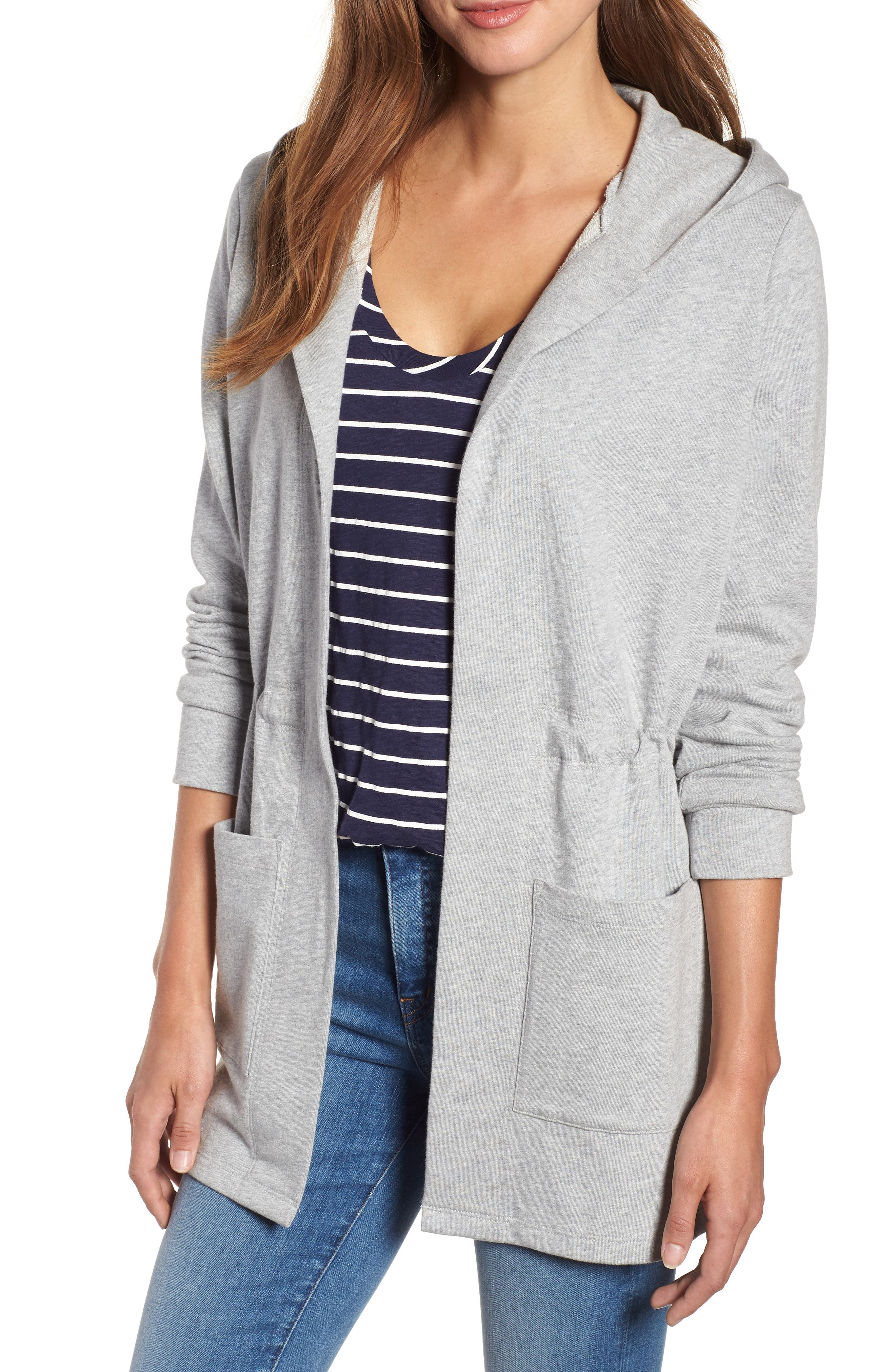 Caslon Hooded French Terry Cardigan, Grey