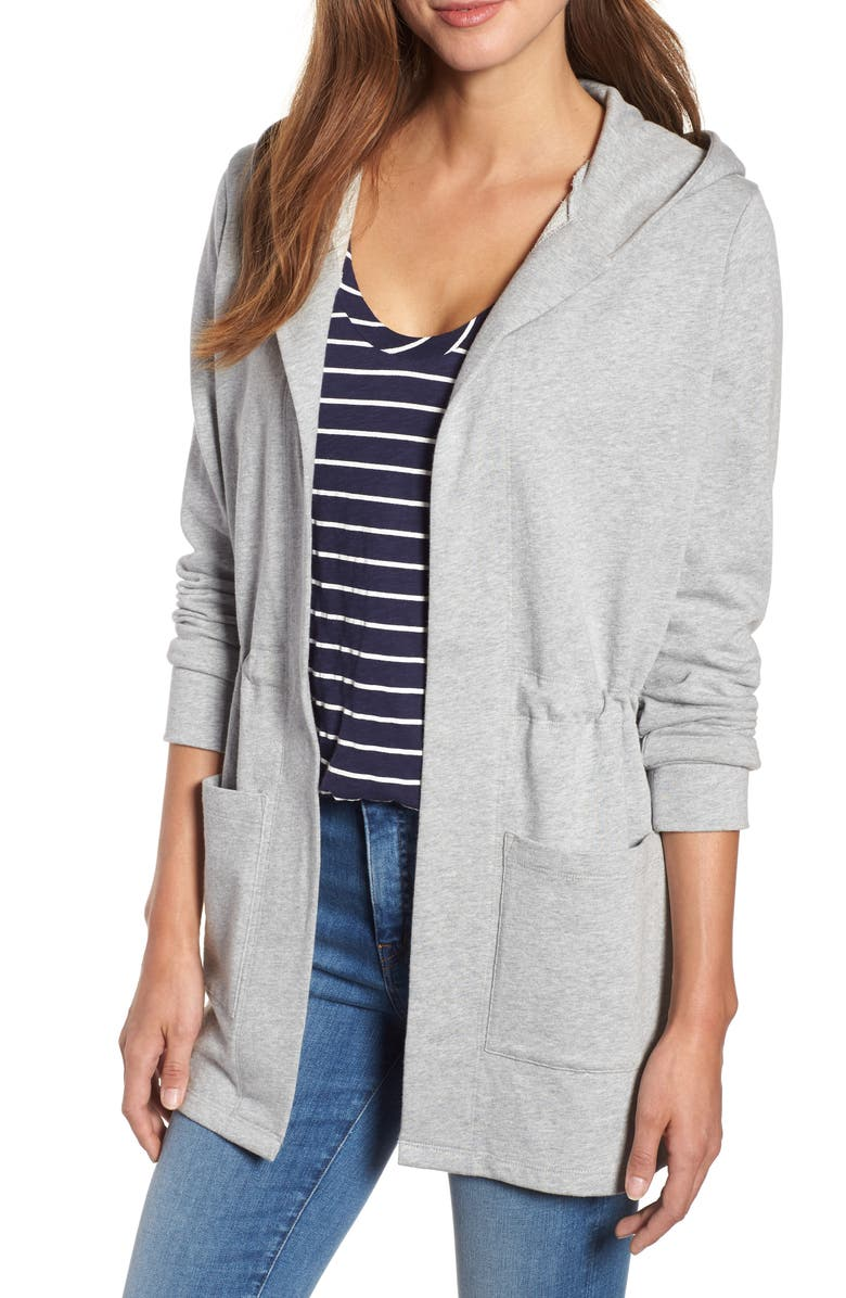 CASLON<SUP>®</SUP> Hooded French Terry Cardigan, Main, color, GREY HEATHER