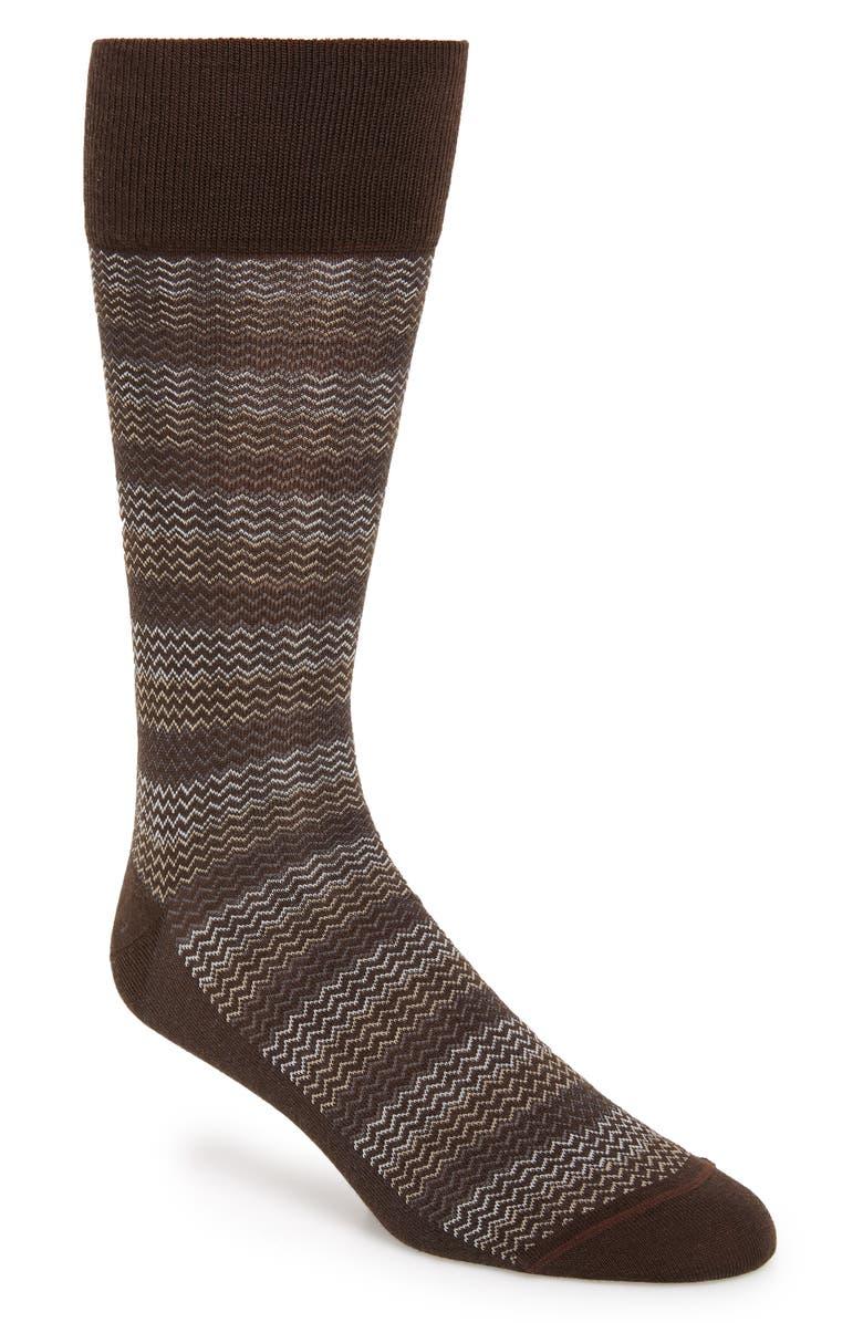 NORDSTROM SIGNATURE Herringbone Merino Wool Blend Socks, Main, color, BROWN/ GREY