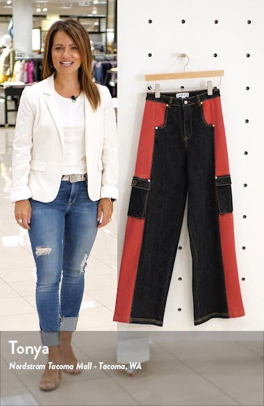 Bessi High Waist Wide Leg Cargo Jeans, sales video thumbnail