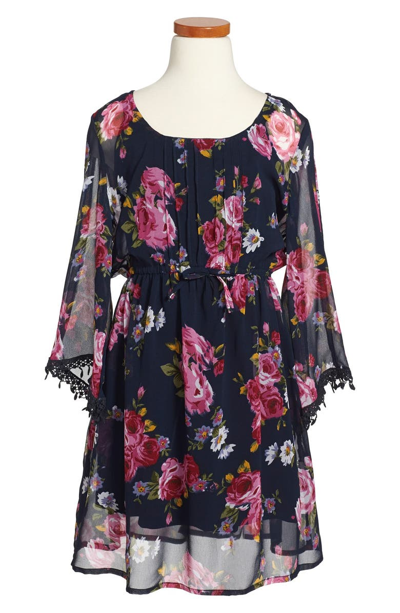 BAND OF GYPSIES Zoe & Rose x Band of Gypsies Floral Print Long Sleeve Dress, Main, color, 006