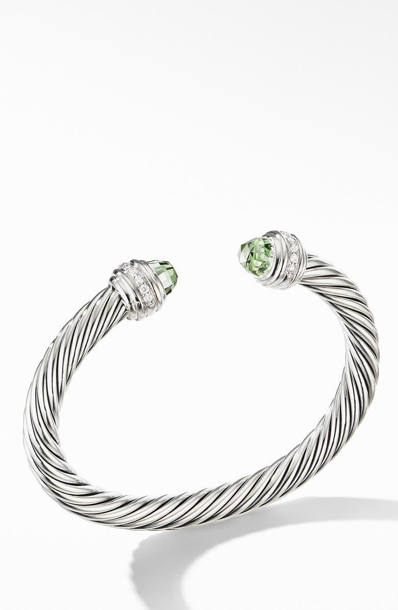 DAVID YURMAN Cable Classics Bracelet with Semiprecious Stones & Diamonds, 7mm, Main, color, SILVER/ DIAMOND/ PRASIOLITE