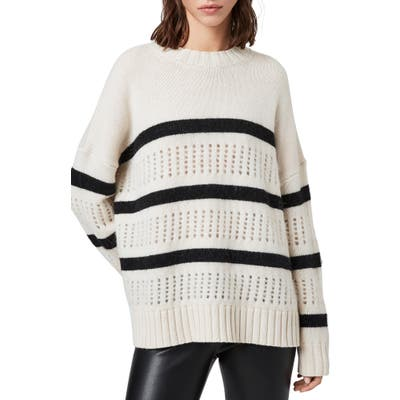 Allsaints Siddons Stripe Wool Blend Sweater, Black