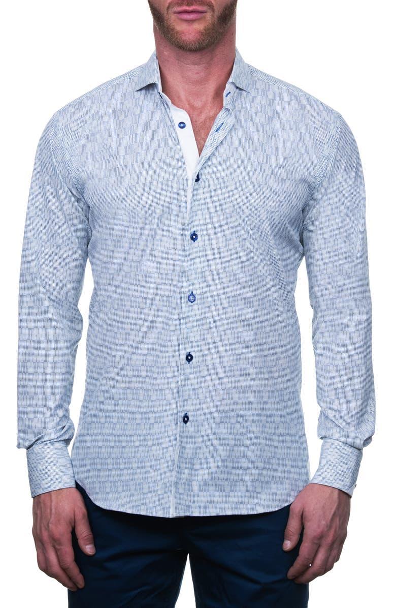 MACEOO Einstein Regular Fit Line Dot Button-Up Shirt, Main, color, WHITE