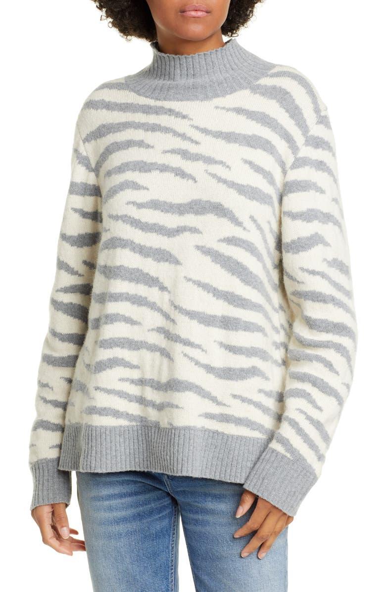 LA VIE REBECCA TAYLOR Animal Print Turtleneck Merino Wool & Cotton Blend Sweater, Main, color, LATTE/ STORM GREY
