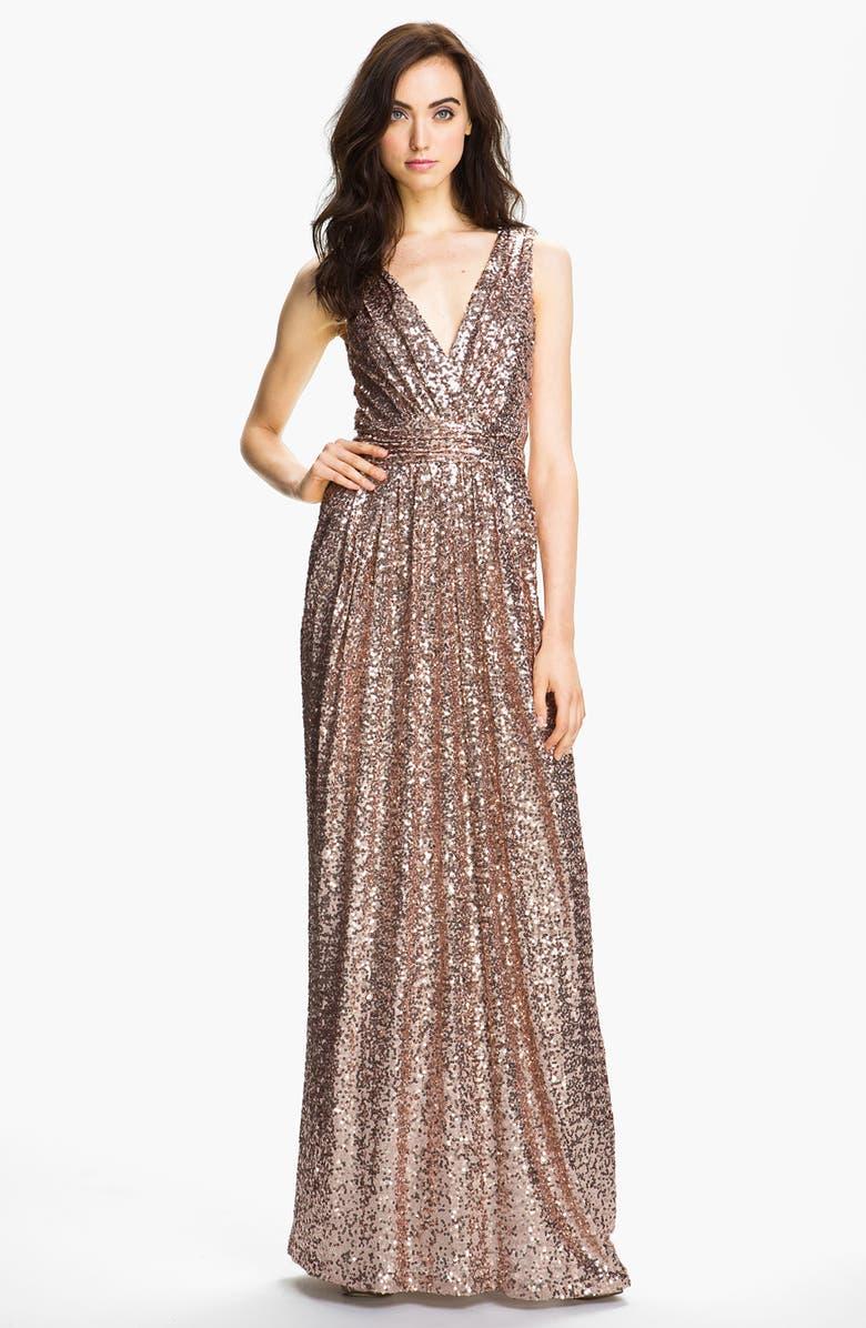 BADGLEY MISCHKA COLLECTION Badgley Mischka Double V-Neck Sequin Gown, Main, color, 650