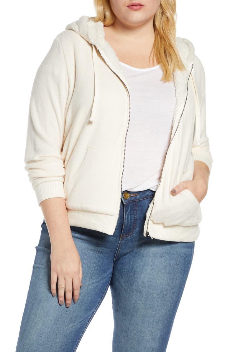 BOBEAU Remington Faux Shearling Lined Hooded Jacket, Main, color, SUGAR