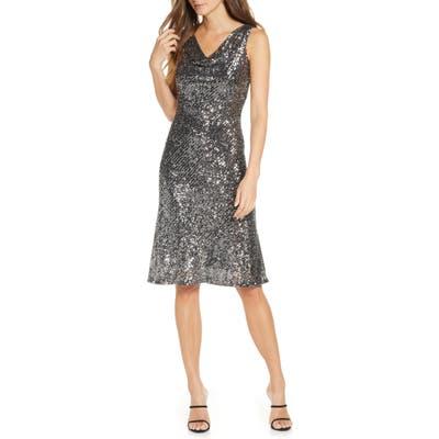 Taylor Dresses Sleeveless Sequin A-Line Dress, Metallic