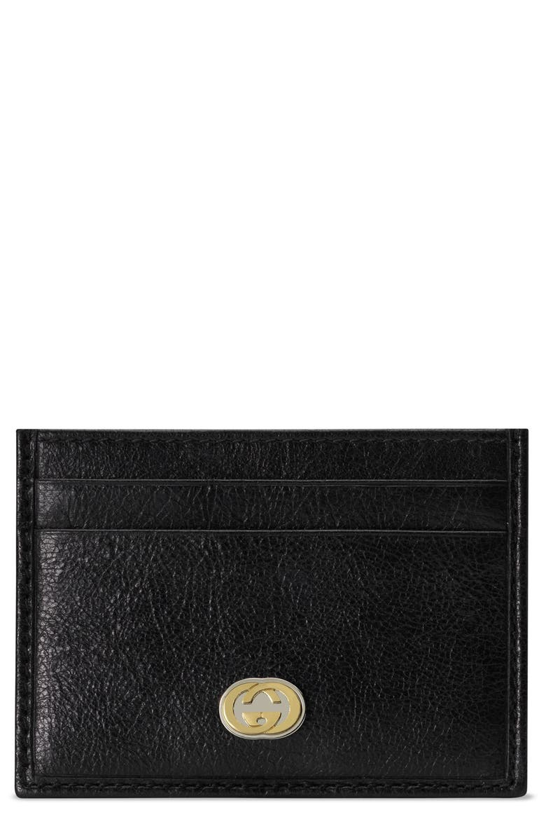 GUCCI New GG Leather Card Case, Main, color, 001