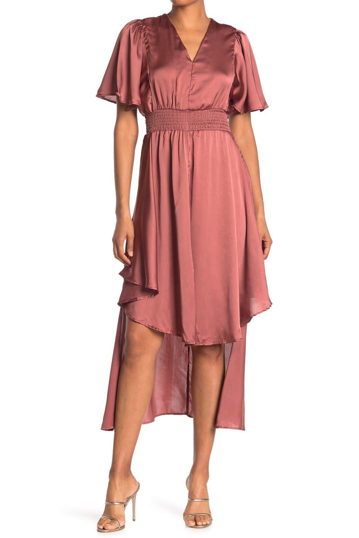 Image of Angie V-Neck High/Low Satin Dress