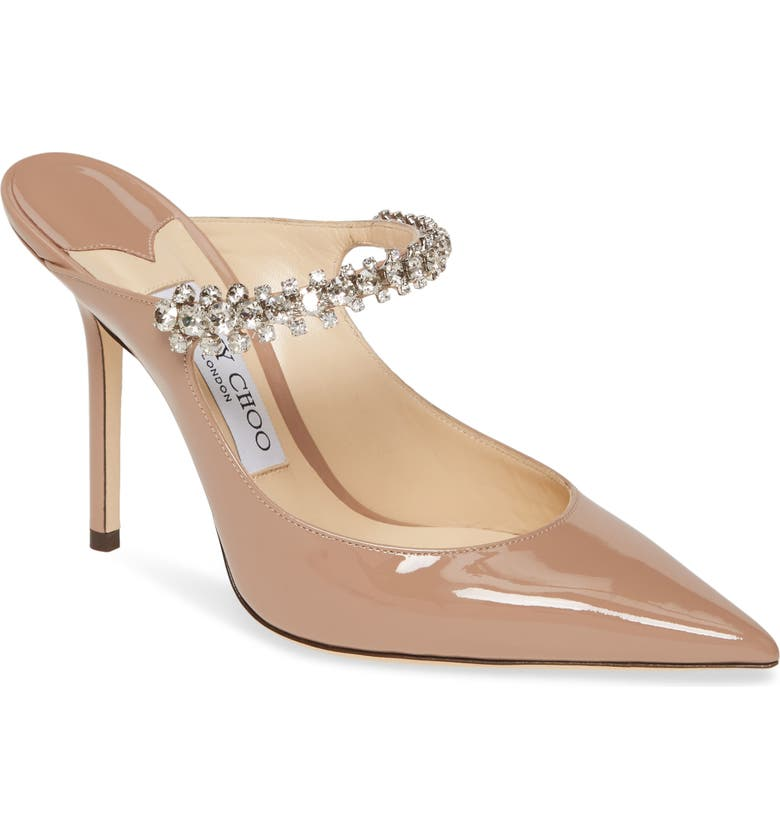 JIMMY CHOO Embellished Pointed Toe Mule, Main, color, BALLET PINK