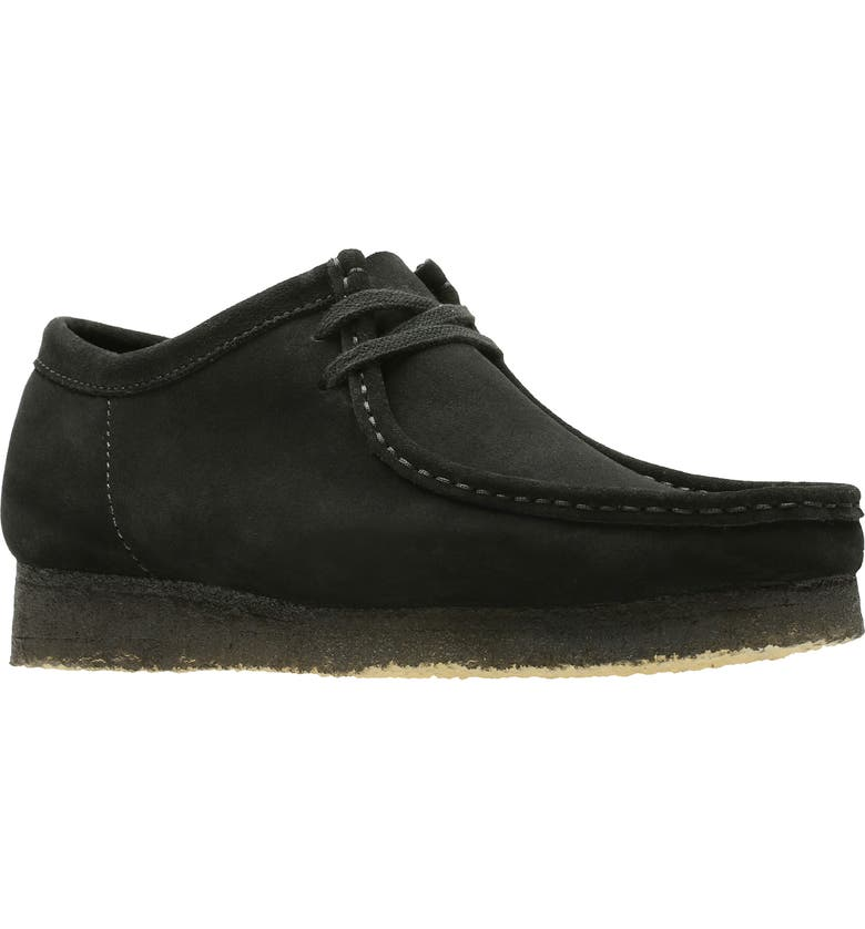 CLARKS<SUP>®</SUP> ORIGINALS 'Wallabee' Moc Toe Derby, Main, color, BLACK/BLACK SUEDE